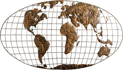 The world is available at a glance with this Southern Enterprises World Map Wall Art. Its the perfect accent for any room that displays a collection of souvenirs from your world travels. Three-dimensional metal construction with gold-brushed finish. Assembly required.25.5H x 46W x 3D. - $79.99