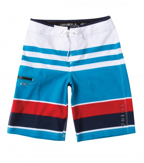 Surf O'Neill Boys Orion Boardshorts.  Epicstretch.  Superfly closure; side welt zipper pocket; contrast waistband binding and screened logos. - $48.00