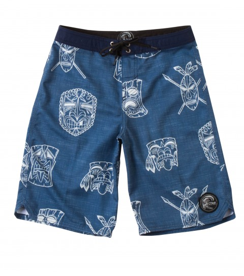Surf O'Neill Boys Tiki Law Boardshorts.  Ultrasuede.  Comfort fly closure; contrast waistband; side pocket; scallop hem;embroidered and screened logos. - $33.99