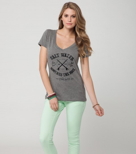 Surf O'Neill Last Love Tee.  60% Cotton / 40% Polyester.  Heather slim V with distressed flocking. - $19.99
