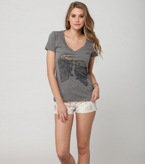 Surf O'Neill Nightowl Tee.  60% Cotton / 40% Polyester.  Heather slim V with gold foil. - $26.00