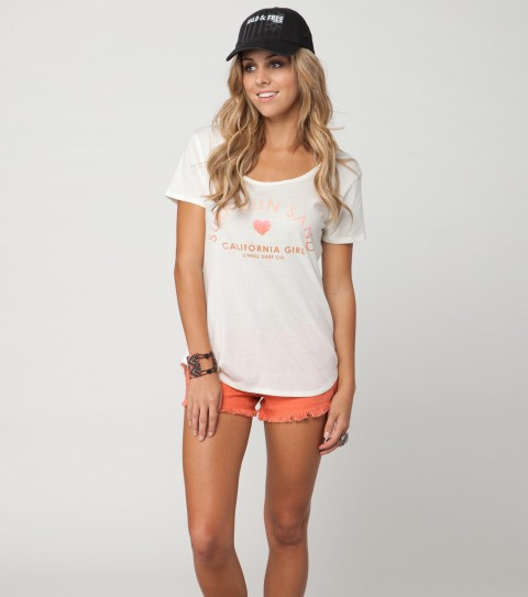 Surf O'Neill Locals Only Tee.  100% Cotton.  Pigment dyed; rouge scoop tee. - $13.99