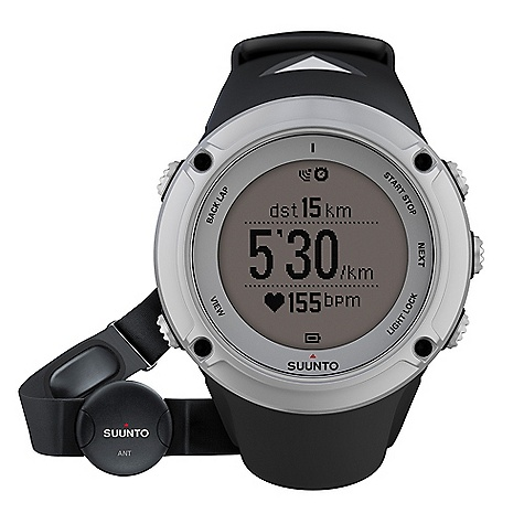 Fitness Free Shipping. Suunto Ambit2 HR Watch DECENT FEATURES of the Suunto Ambit2 HR Watch Time, date, alarm, dual time Multiple UI languages (EN, DE, ES, FI, FR, IT, NL, PT, SV) GPS timekeeping Positive / negative display switch User-adjustable backlight Versatile button lock Low battery indicator Metric and imperial units Power save modes Adjustable recording of HR and baro/alti (1 s, 10 s) Data transfer and charging with USB cable Includes: Suunto Ambit2, Suunto ANT Heart Rate Belt, Ambit power cable, and Quick guide The SPECS ANT+(TM) compatibility  Backlight option for night use  Backlight type: Led Dot-matrix display  Logbook  Menu-based user interface  Mineral crystal glass  Operating temperature: -20degC - +60degC/-5degF - +140degF Selectable metric/imperial units  Storage temperature: -30degC - +60degC/-22degF - +140degF User replaceable straps  Water resistance: 100 m / 328 ft Weight: Sapphire 92 g / 3.25 oz Altimeter Barometric altitude  FusedAlti(TM)  Altitude range: -500m - 9000m/-1600ft - 29500ft  Automatic Alti/Baro switch  Real-time vertical cumulative value  Recording intervals: 1 s, 10 s Resolution: 1 m / 3 ft Temperature compensation  Total ascent/descent  Vertical speed  Chronograph Laps (manual and automatic)  Stopwatch  Countdown timer Compass 3D digital compass  Cardinal directions  Declination setting  Guided calibration  Heading in degrees  North-South indicator: North indicator Computer connectivity (PC and MAC) Training data transfer and analysis Through Movescount.com (with USB cable) Viewing and visualizing tracks and altitude profiles( in Movescount.com) GPS Grids: British (BNG), Finnish (ETRS-TM35FIN), Finnish (KKJ), Irish (IG), Swedish (RT90), Swiss (CH1903), UTM NAD27 Alaska, UTM NAD27 Conus, UTM NAD83 Location  Points of Interest: 100 Routes  Speed  Tracks  Distance  Find back  Heart Rate ANT - digital coded heart rate signal  Average HR: in real time  Calories: In real time EPOC and VO2 max: in Movescount.com HR in real time  HR limits  HR zones  Recording intervals: Beat by beat Heart Rate Belts ANT+ Heart Rate Belts: Compatible Suunto ANT Heart Rate Belt: Included in HR variants Suunto Dual Comfort Belt (Analog Coded & ANT Coded): Compatible Power Battery power indicator Low battery warning Rechargeable battery Special Compatible with PODs  Customizable display  Languages: English as default (DE, ES, FI, FR, IT, NL, PT, SV available through Movescount.com) Suunto Apps  Configurable button lock Training and Exercise Guidance Interval timer  Peak Training Effect: in real time and in Movescount.com Recovery time suggestion after exercise  Indoor swimming support  Bike Power support  Multisport support Watch 12/24h  Alarm Snooze  Calendar clock  Daily alarms: 1 Dual time  GPS timekeeping Weather Barometer range: 950-1060 hPa / 28.34-31.30 inHg Barometer resolution: 1 hPa / 0,03 inHg Sea level pressure  Temperature resolution: 1degC/1degF Trend graph  Temperature - $550.00