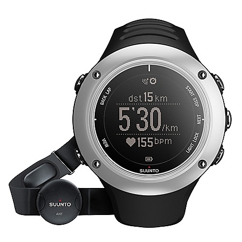 Fitness Free Shipping. Suunto Ambit2 S HR Watch DECENT FEATURES of the Suunto Ambit2 S HR Watch Time, date, alarm, dual time Multiple UI languages (EN, DE, ES, FI, FR, IT, NL, PT, SV) GPS timekeeping Positive / negative display switch User-adjustable backlight Versatile button lock Low battery indicator Metric and imperial units Power save modes Adjustable recording of HR and baro/alti (1 s, 10 s) Data transfer and charging with USB cable Includes: Suunto Ambit2 S, Suunto ANT Heart Rate Belt, Ambit power cable, and Quick guide The SPECS ANT+(TM) compatibility  Backlight option for night use  Backlight type: Led Dot-matrix display  Logbook  Menu-based user interface  Mineral crystal glass  Operating temperature: -20degC - +60degC/-5degF - +140degF Selectable metric/imperial units  Storage temperature: -30degC - +60degC/-22degF - +140deg User replaceable straps  Water resistance: 50 m / 164 ft Weight: 72 g / 2.54 oz Altimeter Altitude range: -500m - 9000m/-1600ft - 29500ft  Recording intervals: 1 s, 10 s Resolution: 1 m / 3 ft  Chronograph Laps (manual and automatic)  Stopwatch  Countdown timer Compass 3D digital compass  Cardinal directions  Declination setting  Guided calibration  Heading in degrees  North-South indicator: North indicator Computer connectivity (PC and MAC) Training data transfer and analysis Through Movescount.com (with USB cable) Viewing and visualizing tracks and altitude profiles( in Movescount.com) GPS Grids: British (BNG), Finnish (ETRS-TM35FIN), Finnish (KKJ), Irish (IG), Swedish (RT90), Swiss (CH1903), UTM NAD27 Alaska, UTM NAD27 Conus, UTM NAD83 Location  Points of Interest: 100 Routes  Speed  Tracks  Distance  Heart Rate ANT - digital coded heart rate signal  Average HR: in real time  Calories: In real time HR limits  HR zones  Recording intervals: Beat by beat EPOC and VO2 max: in Movescount.com HR in real time Heart Rate Belts ANT+ Heart Rate Belts: Compatible Suunto ANT Heart Rate Belt: Included in HR variants Suunto Dual Comfort Belt (Analog Coded & ANT Coded): Compatible Power Battery power indicator Low battery warning Rechargeable battery Special Compatible with PODs  Customizable display  Languages: English as default (DE, ES, FI, FR, IT, NL, PT, SV available through Movescount.com) Suunto Apps  Configurable button lock Training and Exercise Guidance Interval timer  Peak Training Effect: in real time and in Movescount.com Recovery time suggestion after exercise  Indoor swimming support  Bike Power support  Multisport support Watch 12/24h  Alarm Snooze  Calendar clock  Daily alarms: 1 Dual time  GPS timekeeping - $450.00