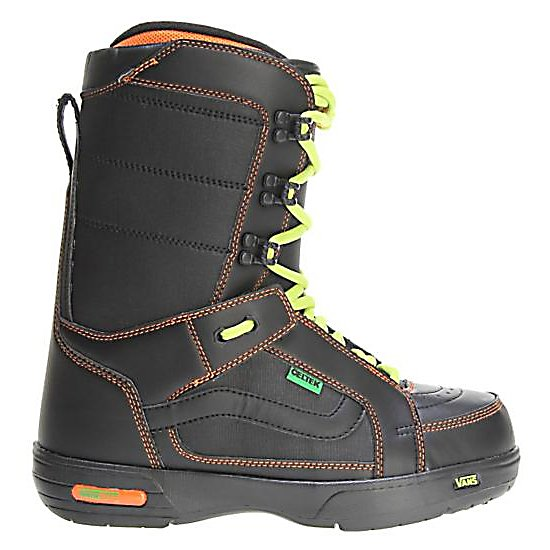 Snowboard Vans Hi Standard Snowboard Boots - The Vans Hi Standard Snowboard Boots have been top notch for over 15 years. These boots are the choice of many pro riders year after year. The Hi Standard from Vans gives you world-class performance while still being the timeless aesthetic boot it is known for. They feature traditional lacing that allows you to get a secure and comfortable fit for a day of shredding out on the mountain. These boots also feature a Pleasure cuff that was designed to allow the cuff of the boot to adjust to your specific calf size to keep the boots comfortable and forgiving on your feet. Full instep articulation on the Vans Aura allows the upper and lower zones of the boots to flex independently to give you one fluid motion. A better fit and comfort is enhanced by the internal web harness and OTW lace lock that gives you a better fit and prevents the liner from moving inside the shell to give you a secure heel hold. Keep your feet comfortable for a day of shredding with the Vans Hi Standard snowboard boots. Features: V2 Footbed, VansLite Outsole. Lacing Style: Traditional Lace, Recommended Use: All-Mountain, Removable Liner: Yes, Flex: Stiff, Warranty: One Year, Intuition Liner: No, Brand Lacing Style: Traditional Lacing, Skill Range: Intermediate - Advanced, Model Year: 2012, Product ID: 274101, Gender: Mens, Skill Level: Intermediate, Model Number: VN-0NFQ4V3 080M, GTIN: 0885928753180 - $79.93