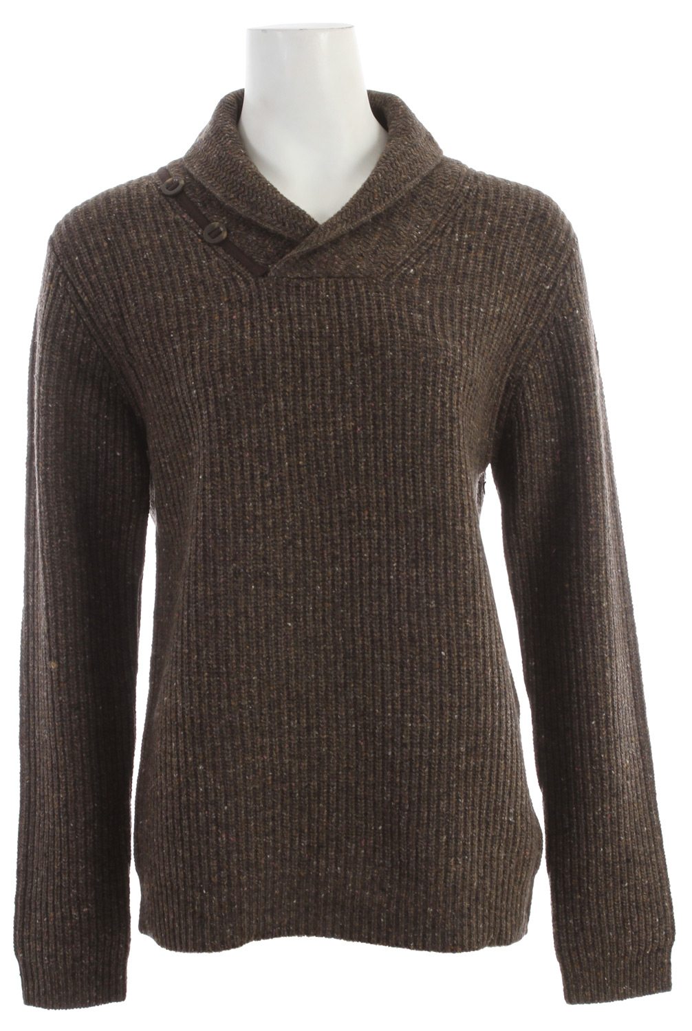 Thick ribbed body knits and the military buttoned shawl collar style this cozy lambswool sweater. - $71.95