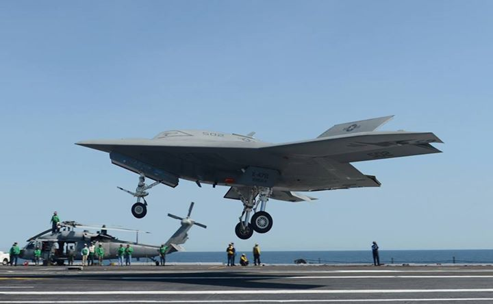Guns and Military ATLANTIC OCEAN (May 17, 2013) An X-47B unmanned combat air system (UCAS) demonstrator prepares to execute a touch and go landing on the flight deck of the aircraft carrier USS George H.W. Bush (CVN 77). This is the first time any unmanned aircraft has com