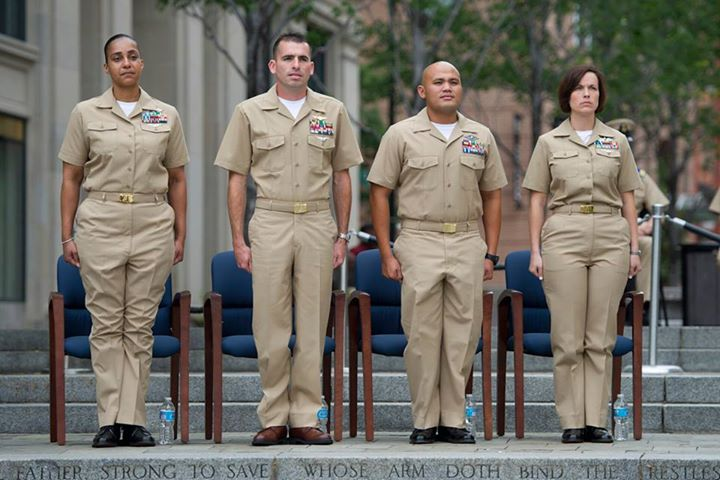 Guns and Military WASHINGTON (May 16, 2013) The four 2012 Sailors of the Year receive their direct promotion to chief petty officer from Vice Chief of Naval Operations Adm. Mark E. Ferguson. Chief Cryptologic Technician (Networks) Shannon McQueen, left, CNO Shore Sailor of