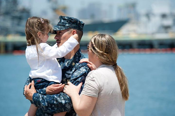 Guns and Military SAN DIEGO (May 14, 2013) Chief Navy Counselor Eduardo Meneses embraces his family before departing Naval Base San Diego aboard the amphibious dock landing ship USS Pearl Harbor (LSD 52) for Pacific Partnership 2013. Pacific Partnership is an annual Pacifi