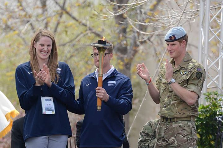 Guns and Military COLORADO SPRINGS, Colo. (May 11, 2013) Olympic swimmer Missy Franklin, left, Paralympic gold medal winner Lt. Bradley Snyder and Britain's Prince Harry prepare to light the torch to begin the 2013 Warrior Games at the U.S. Olympic Training Center. From Ma