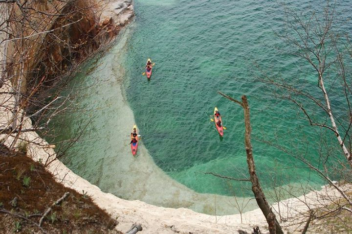 Kayak and Canoe Kayakers from atop the Lovers Leap Arch. Pictured Rocks from May 16, 2013