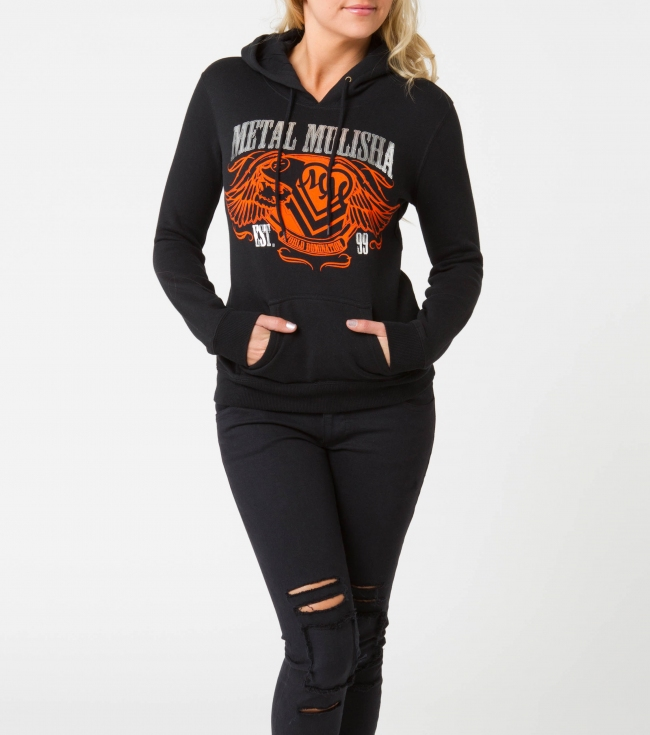 Motorsports Metal Mulisha Maidens hoodie.  80% Cotton / 20% Polyester.  Pullover hooded fleece with front screen with foil. - $21.99