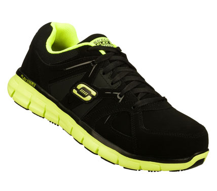 Sporty good looks; comfort and safety all mix in the SKECHERS Work: Synergy - Sure Gripper SR shoe.  Smooth leather or soft trubuck leather and synthetic upper in a lace up sporty slip resistant alloy toe work sneaker with stitching and overlay accents. - $95.00