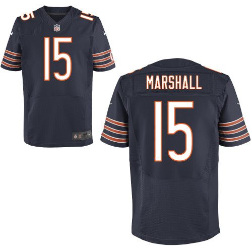 Sports Men\'s Brandon Marshall Nike Elite #15 Navy Blue Team Color Chicago Bears Jersey