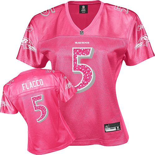 Entertainment Joe Flacco Red Women's Sweetheart Baltimore Ravens #5 Replica Reebok NFL Jersey
