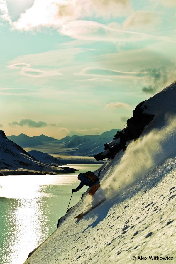 Ski Aurelien Ducroz skiing in Svalbard, Norway