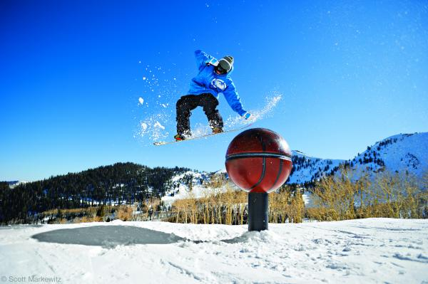 Snowboard Cooper Hoffmeister shows off some snowboarding tricks at The Canyons in Utah