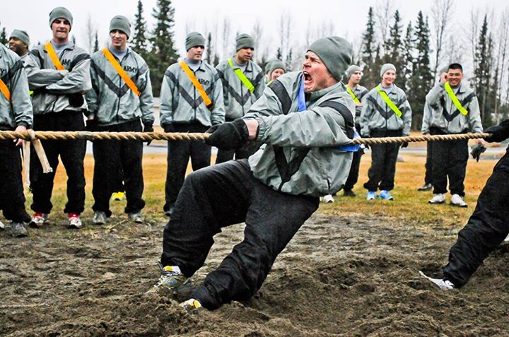 Guns and Military U.S. Army 1st Lt. Kenneth Cummings, 4th Brigade Combat Team (Airborne), 25th Infantry Division, shows his war face during the tug-of-war event in the Spartan Competition Derby May 17 at Joint Base Elmendorf-Richardson JBER (official). The tug-of-war event