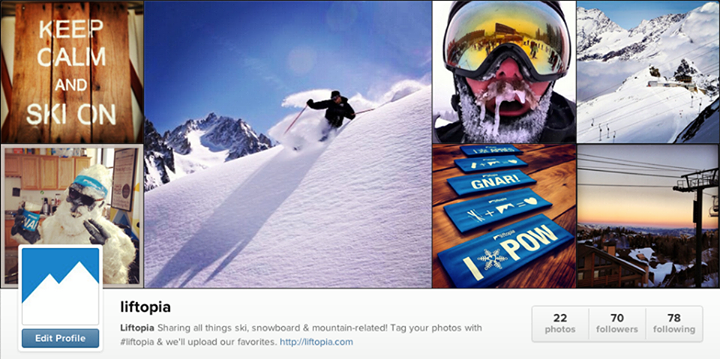 Ski It's official - we're on Instagram! Find us at @Liftopia, then check out our 30 favorite Instagram accounts to follow for fun, outdoorsy & extreme photos. http://bit.ly/liftig