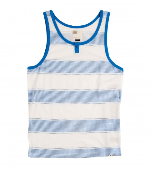 Surf O'Neill Huevos Rancheros Tank.  100% Cotton jersey.  Printed stripe tank with garment wash. Standard fit with collar  placket and logo labels. - $29.50