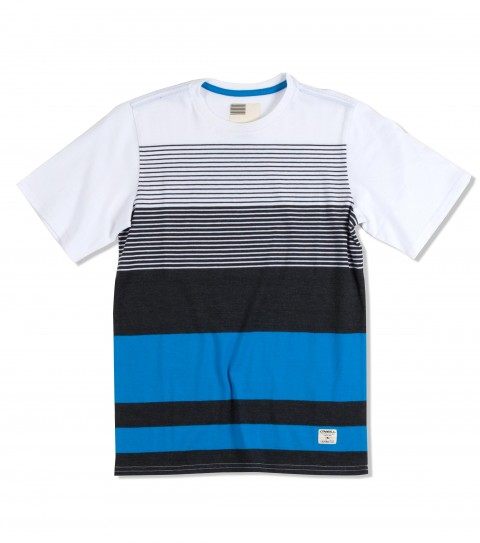 Surf O'Neill Boys Latitude Shirt.  100% Cotton jersey.  Engineered yarn dye stripe crew with garment wash. Standard fit with logo labels. - $16.99
