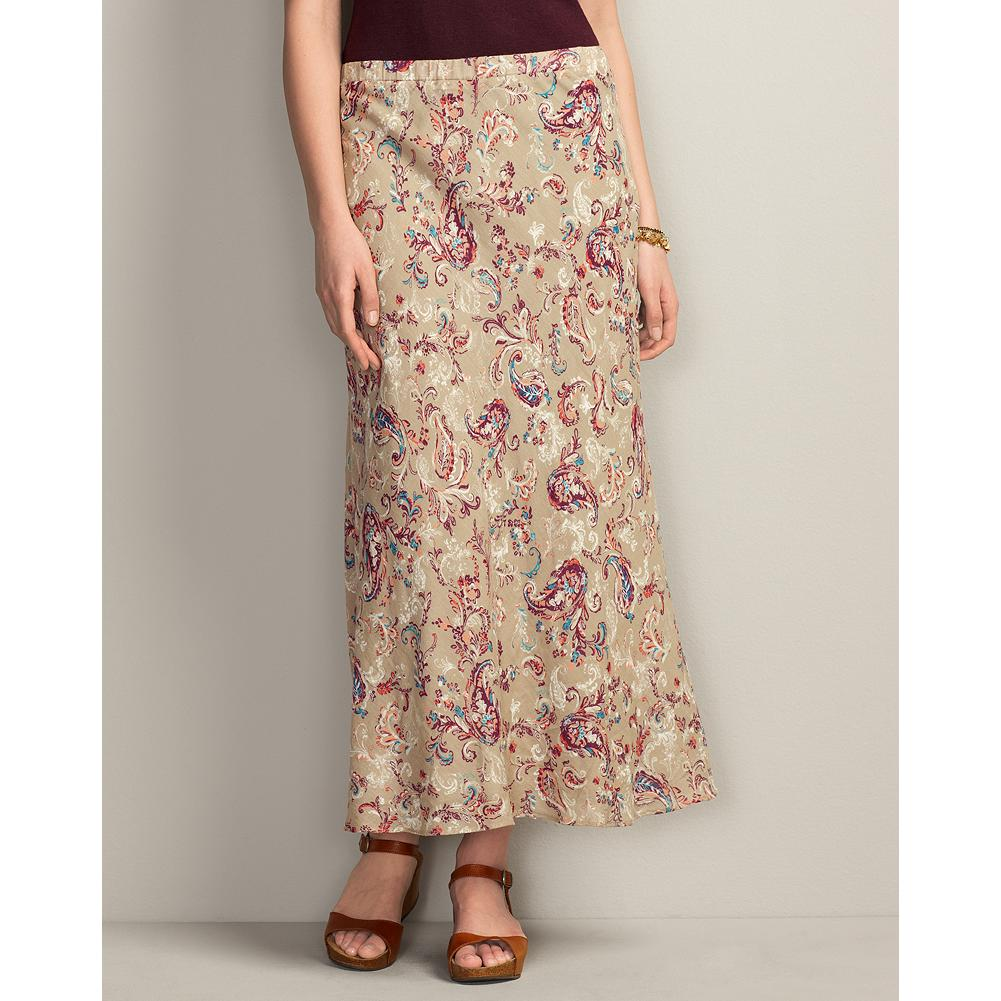 Eddie Bauer Long Bias Paisley Skirt - The airy cotton gauze of this long skirt is cut on the bias to enhance its flowing drape. The striking paisley design; comfortable, elasticized waist; and flattering, slimming silhouette make it a favorite from summer into fall. - $34.99