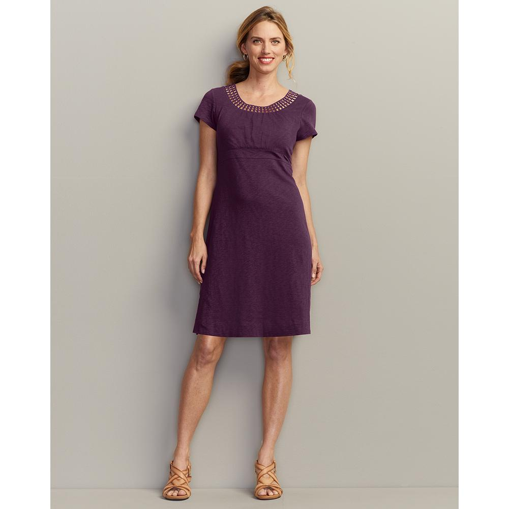 Eddie Bauer Lace Neckline Dress - Solid - The ultimate summer dress, this casual pullover style has beautiful appliqued lace detailing at the scoop neckline. Soft, slub cotton jersey fabric uses alternating thick and thin yarns to create subtle texture and rich color. - $39.99