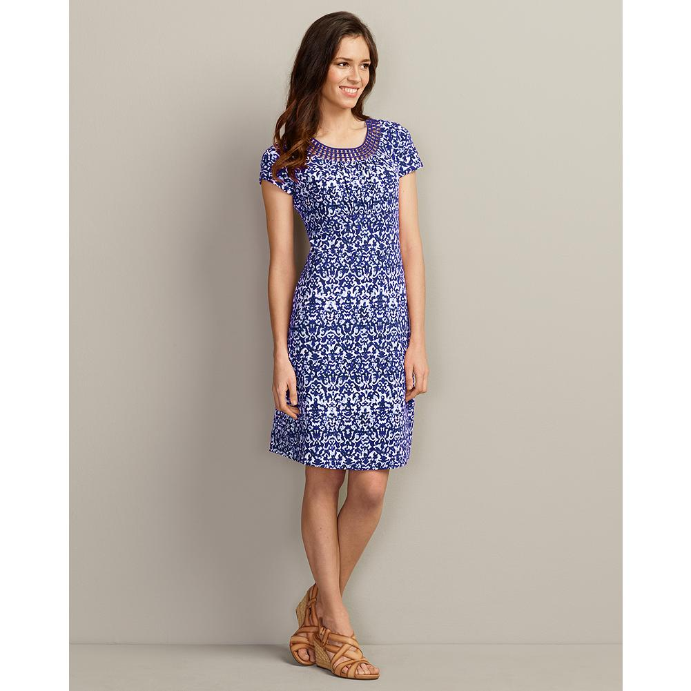 Eddie Bauer Lace Neckline Dress - Print - The ultimate summer dress, this casual pullover style has beautiful appliqued lace detailing at the scoop neckline, and a watercolor-inspired lattice print. Soft, slub cotton jersey fabric uses alternating thick and thin yarns to create subtle texture and rich color. - $19.99
