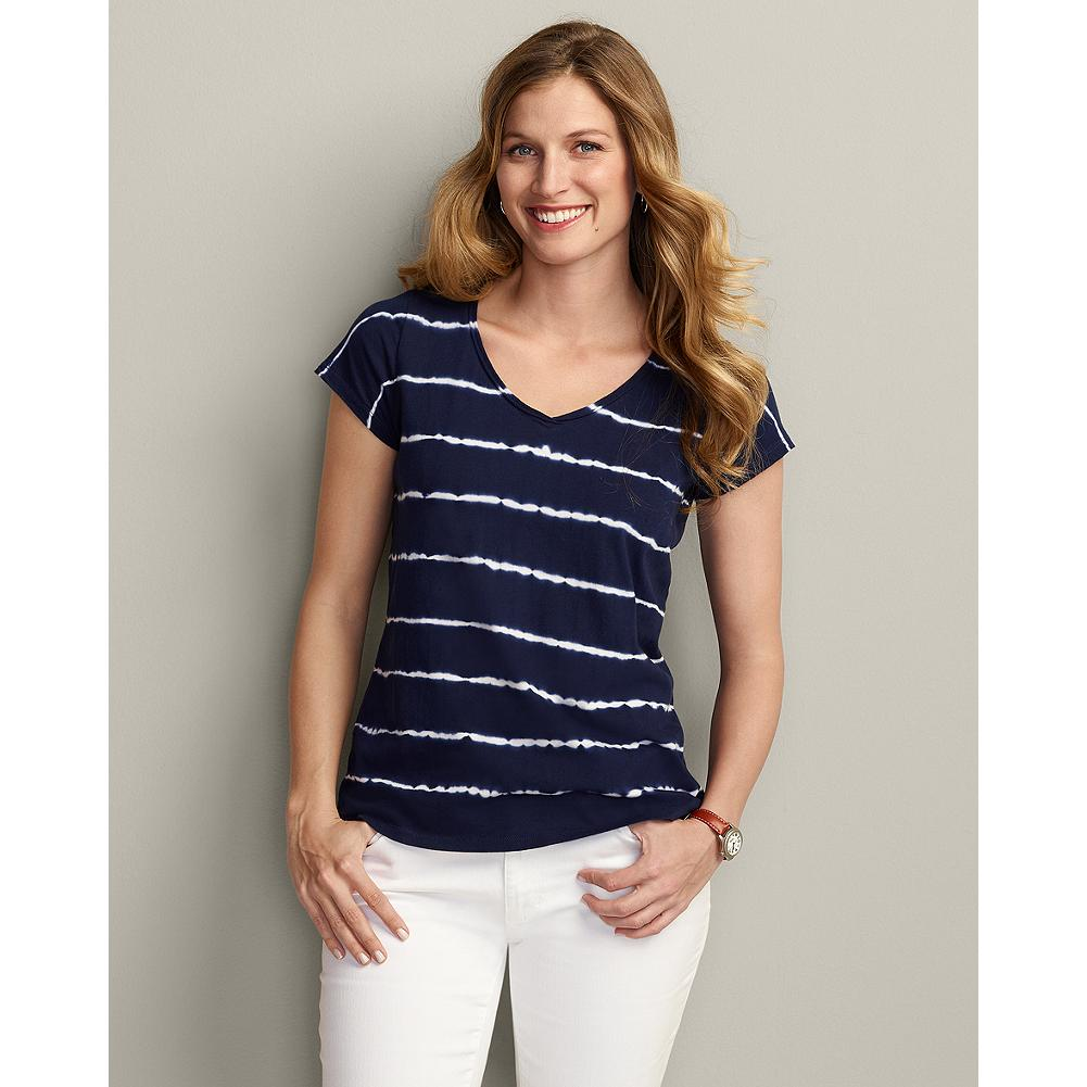 Eddie Bauer Tie-Dye Print T-Shirt - Our popular V-neck T-shirt is soft cotton jersey with a raw-edge roll neckline, and a tie-dye inspired stripe print that goes perfectly with jeans, capris, or shorts. - $19.99