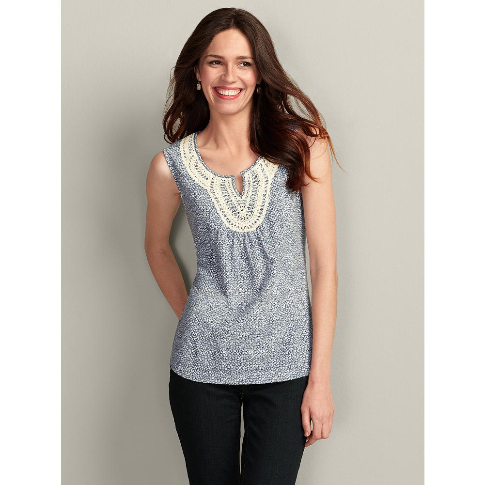 Eddie Bauer Printed Crochet-Trim Tank Top - The soft cotton of our tank top has crocheted lace and chain-stitch detailing at the neckline. Front gathers under the lace applique create additional texture. - $14.99