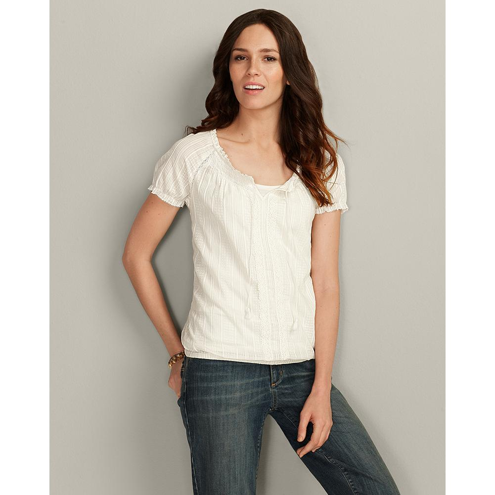 Eddie Bauer Banded Smocked Pullover Shirt - Solid - The lightly textured cotton dobby of our shirt is enhanced with a tasseled drawstring at the neck, as well as smocking embroidery at the neckline, sleeve edge, and elasticized hem. Lace accents the center front, while a picot-edge ruffle at the neck and sleeves complete the feminine details. Cami layer recommended. Also available in a print version. - $19.99