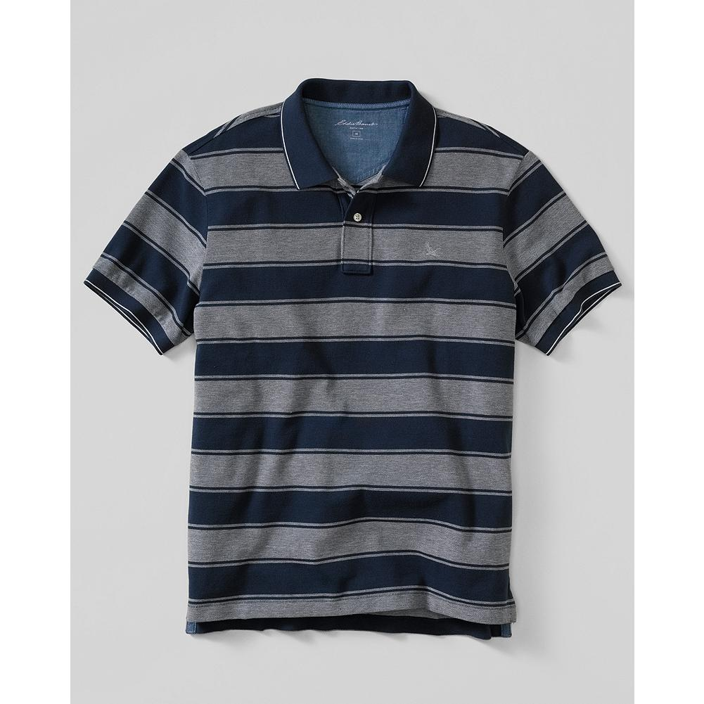 Eddie Bauer Classic Fit Short - Sleeve Pique Polo Shirt - Stripe - Cotton pique resists wrinkles, fading, shrinking, and pilling and gives our polo shirt superior shape retention. - $19.99