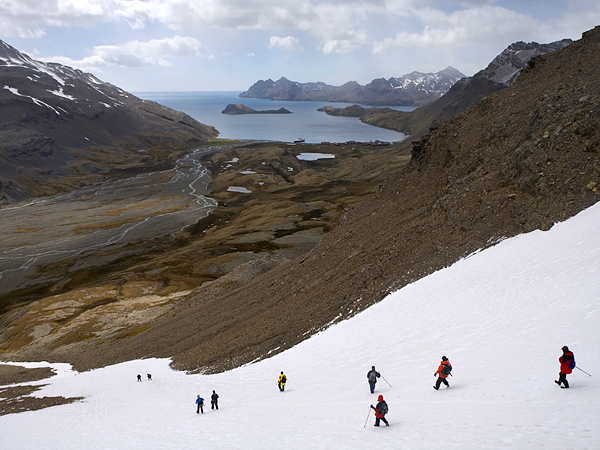 Camp and Hike Hikers at the Shackleton Gap, Antarctica