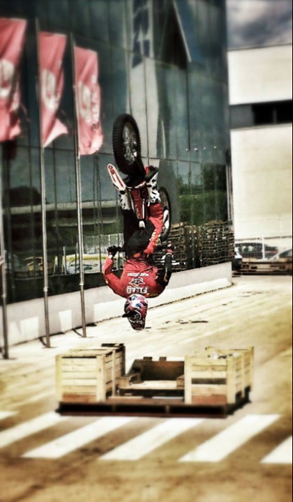Motorsports INSANE! Jack Fields performs his world record back flip at the GASGAS Motorcycle Factory in Spain. HITCASE is helmet mounted and captures it all! Well done Jack, well done!