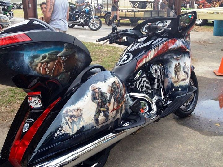 Auto and Cycle Custom Wounded Warrior Project inspired Victory Vision at Victory Bike Night.