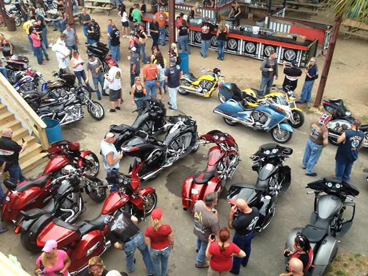 Auto and Cycle Victory Bike Night at the Spokes and Bones saloon during Myrtle Beach Bike Week.