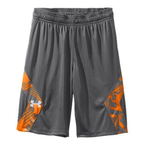 "Fitness These are more than just a pair of shorts. They also perform. The UA Domineer shorts also have side insets with a bold print  for just the right hit of color. Soft knit fabric body is light without being too lightPrinted side insets match up with the UA Domineer short sleeveSignature Moisture Transport System wicks sweat away from the bodyCovered elastic waistband with internal drawcordMesh hand pockets9"" inseamPolyesterImported - $21.99"