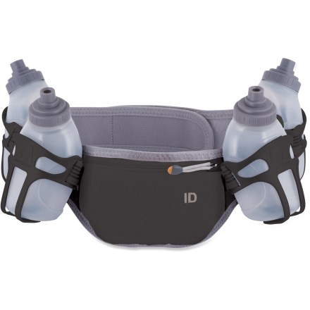Camp and Hike For ultrarunners, marathon walkers or anyone who spends hours hitting the trails, the lightweight Nathan Speed 4R hydration waistpack lets you run comfortably while carrying a phone, fuel and water. 4 individual 8oz. flasks sit securely in holsters and provide easy access to water midstride. Zippered pocket securely holds phone, ID and energy gels. Breathable nylon/polyester mesh fabric helps keep your skin cool, comfortable and chafe-free. Closeout. - $18.73