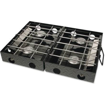 Camp and Hike A large cook space with 4 burners gives the Stansport Tuff Diamond Plate Propane stove the feel of cooking at home. Heavy-duty steel construction will stand up to years of car-camping fun. - $148.73