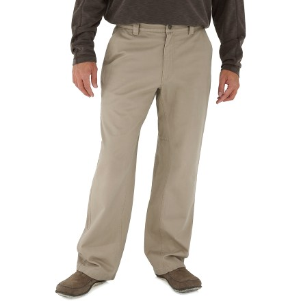 Camp and Hike The Royal RobbinsTrail Chino pants with 32 in. inseam feature sun-protective, soft brushed cotton fabric and a relaxed khaki style that never goes out of fashion. With a UPF 50+ rating, fabric provides excellent protection against harmful ultraviolet rays. 2 hand pockets, 2 rear pockets and a drop-in cell phone pocket on the right side give you plenty of space to stow necessities. Triple stitching and bar tacks at high-stress points ensure long-lasting wear. Gusseted crotch allows good range of motion. The Royal Robbins Trail Chino pants have a relaxed fit. Closeout. - $19.73