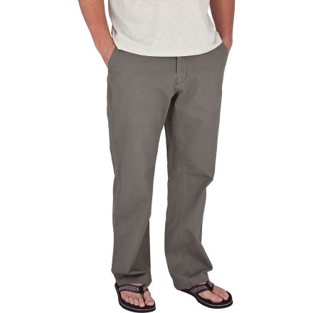 Camp and Hike The Royal RobbinsTrail Chino pants with 32 in. inseam feature sun-protective, brushed cotton fabric and a casual style that never goes out of fashion. With a UPF 50+ rating, fabric provides excellent protection against harmful ultraviolet rays. 2 hand pockets, 2 rear pockets and a drop-in cell phone pocket on the right side give you plenty of space to stow necessities. Triple stitching and bar tacks at high-stress points ensure long-lasting wear. Gusseted crotch allows good range of motion. The Royal Robbins Trail Chino pants have a relaxed fit. Closeout. - $19.73