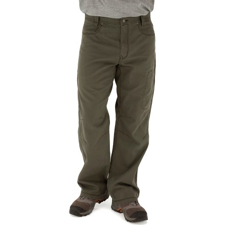 Camp and Hike With a sturdy construction, a soft feel and classic style, the Royal Robbins Billy Goat(R) Utility Corduroy pants with a 32 in. inseam will be staples of your cool-weather, casual wardrobe. Rugged cotton corduroy provides UPF 50+ protection from the sun's rays. 2 hand pockets, 2 rear pockets, a zippered thigh pocket and a zippered rear pocket provide storage for your essentials. Triple-needle stitching at high-stress points ensures long-lasting wear. Gusseted crotch and articulated knees allow good range of motion. The Royal Robbins Billy Goat Utility Corduroy pants have a regular fit. Closeout. - $21.73