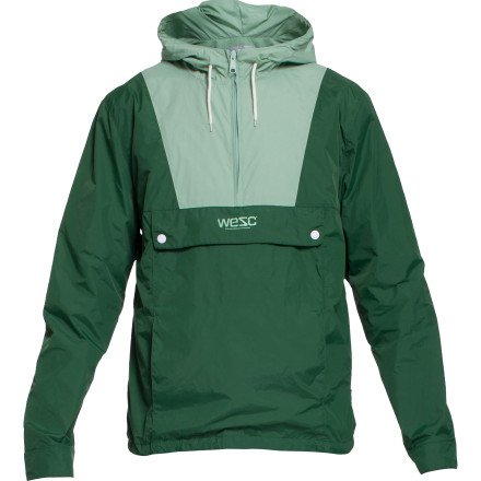 Stay dry when afternoon summer showers roll through with the WeSC Mumrik Men's Jacket. This anorak-style pullover has a light nylon shell to protect against wind and rain without weighing you down or making you feel stuffy. - $63.95