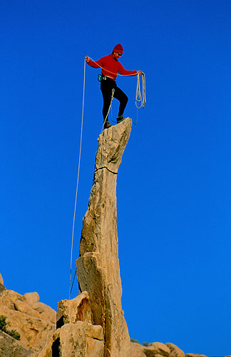 Climbing Bob Gaines on the Aiguille de Joshua Tree, a unique spire at Joshua Tree National Park