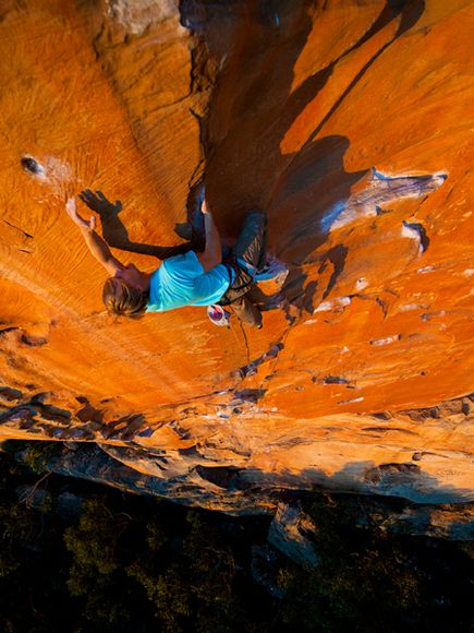 Climbing Climber Nalle Hukkataival scales the Taipan Wall in Victoria, Australia