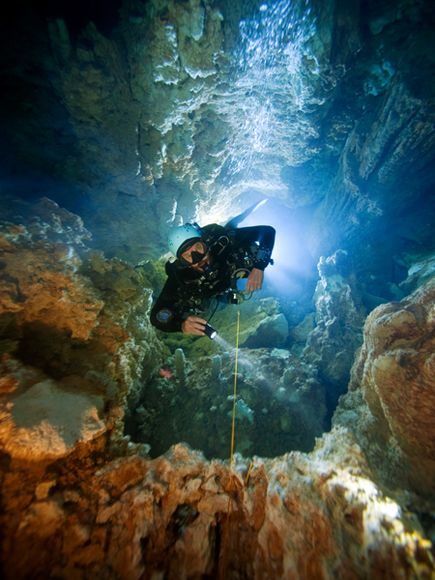 Scuba A diver ascends a deep shaft in Dan's Cave on Great Abaco Island, Bahamas