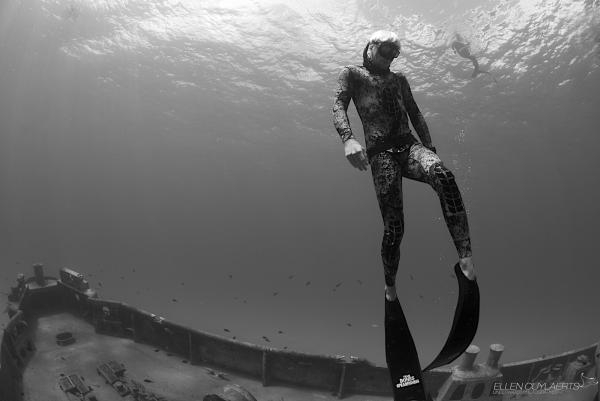 Scuba Diving the wreck of the Ex-USS Kittiwake with some freedivers