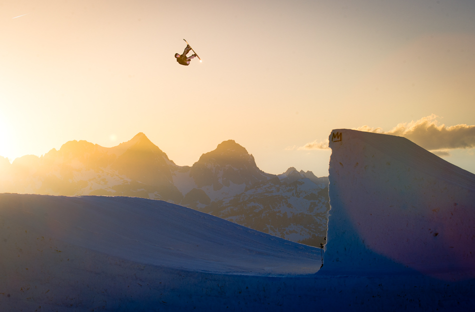 Snowboard Isabelle Derungs was going super high on every hit. She sent a backside rodeo during the sunset shoot.