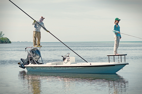 Flyfishing Maverick 17 HPX- VII - A popular skiff retooled for balance, speed and efficiency.  Article by Capt. Rick Murphy posted May 21, 2013