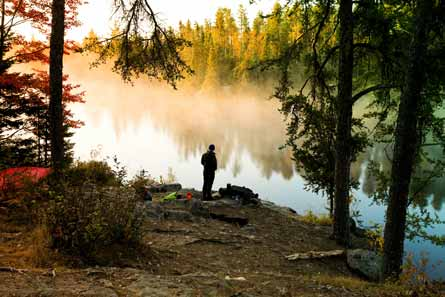 Camp and Hike Waking up to Sletton Lake in Superior National Forest, Minnesota